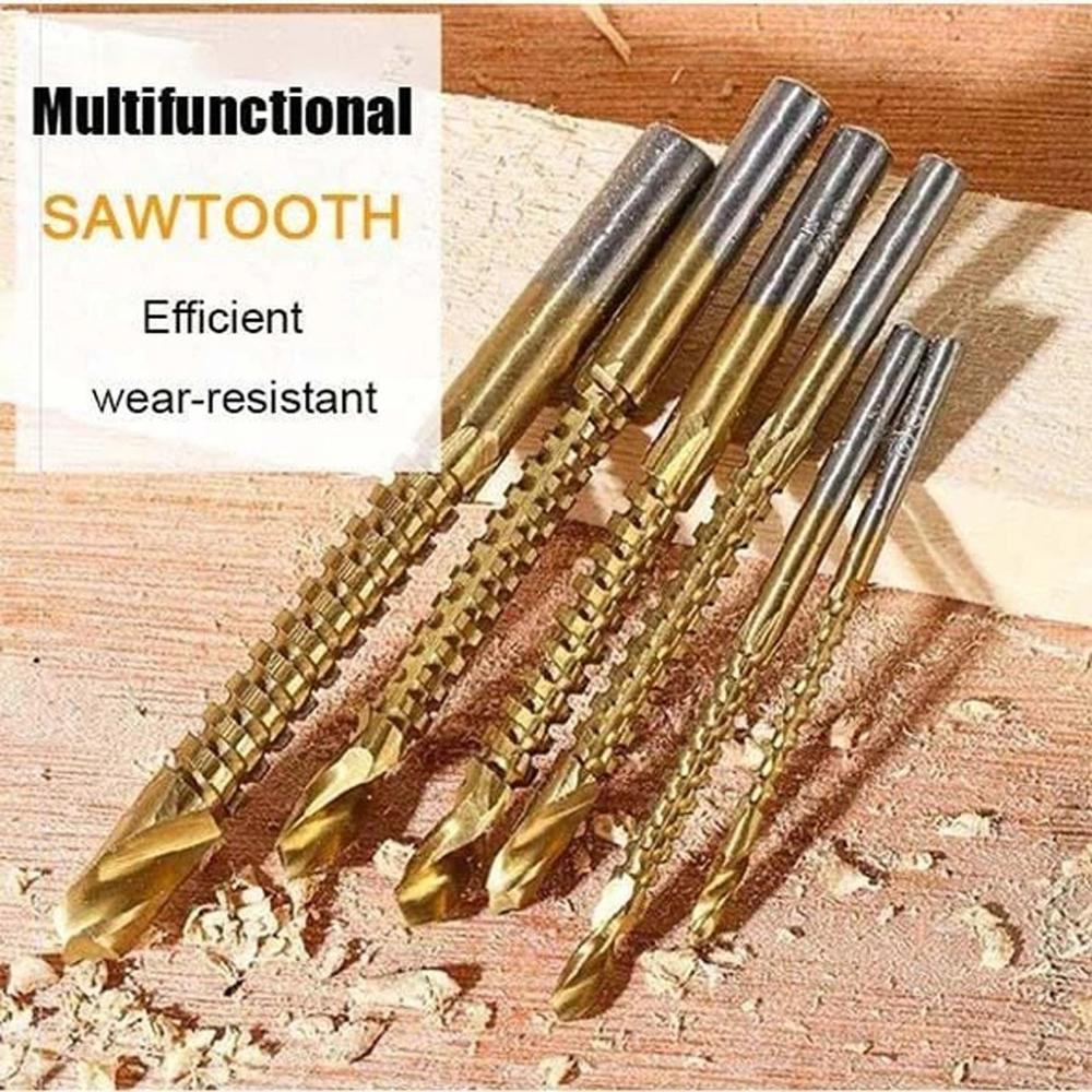 6pcs Cobalt Drill Bit Set Saw Drill Pull Saw Woodworking Drill Bit Serrated Drill 3-8mm Drill Bit