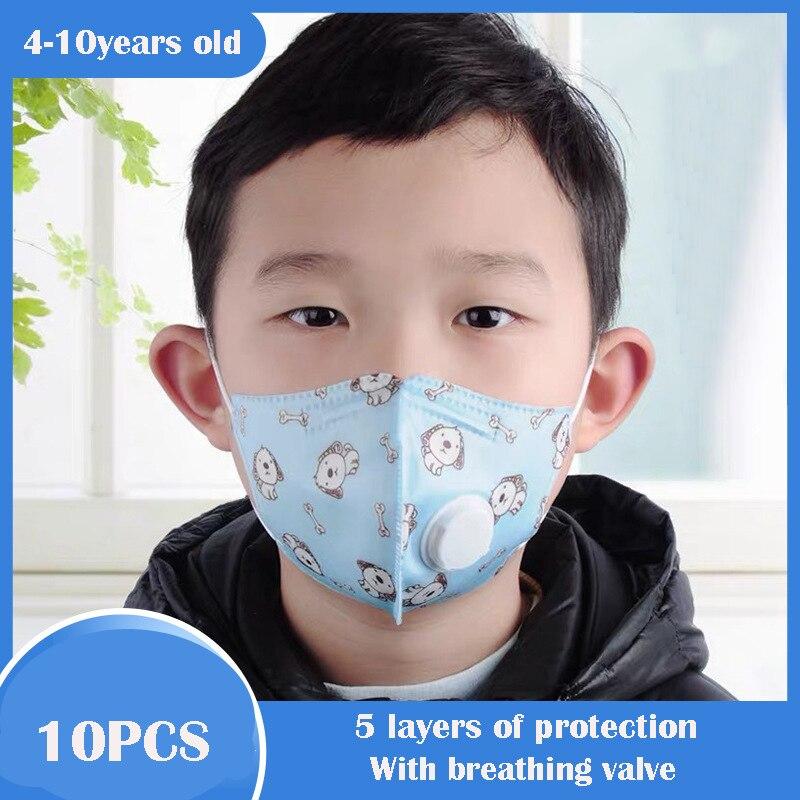 10Pcs Children Breath Valve Mask KN90 Kids Cartoon Anti Virus PM2.5 Anti Haze Face Mask Breathable Girl Boy Print Mouth Mask
