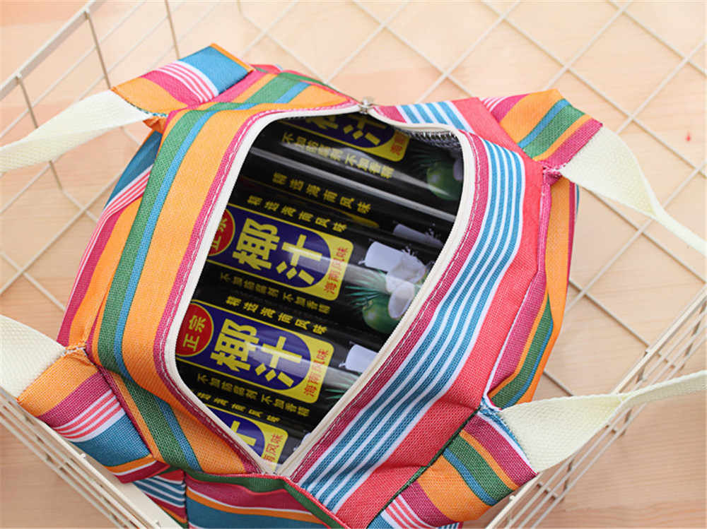 Santai Wanita Tas Makan Siang Portabel Kanvas Stripe Insulated Tas Pendingin Makanan Panas Piknik Makan Siang Tas Anak-anak Makan Siang Kotak Tas Tote #