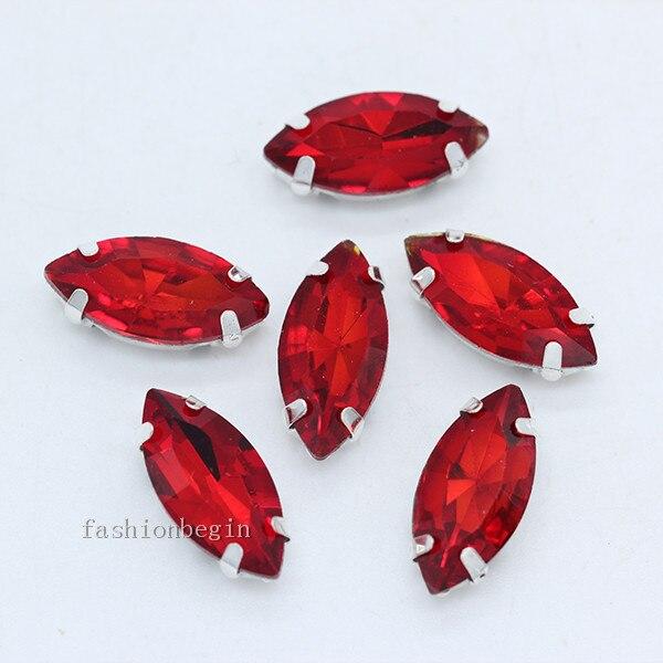 Всех размеров Наветт 24-цветное стекло камень с плоской задней частью, пришить с украшением в виде кристаллов Стразы драгоценные камни бисер с серебряной нитью, бледно-коготь кнопки для одежды аксессуары - Цвет: siam