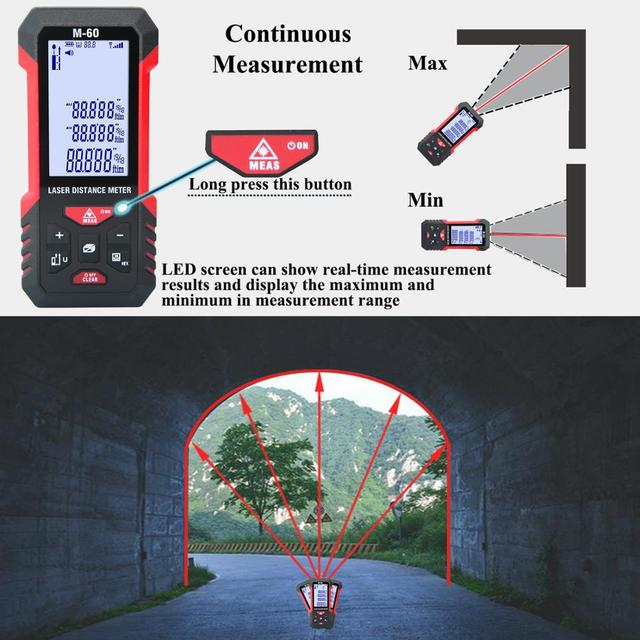 лазерный дальномер teclaser цифровой лазерный 40 м 60 100 измерительная фотография