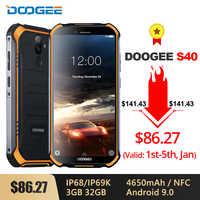 DOOGEE S40 IP68/IP69K 4G wytrzymały telefon komórkowy 3GB RAM 32GB ROM 9.0 5.5 cal 4650mAh MT6739 czterordzeniowy 8.0MP 4G Smartphone
