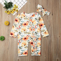 Kids Infant Baby Girl Floral Bodysuit Jumpsuit+Headband Clothes Outfit