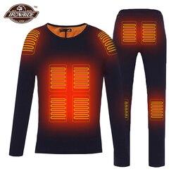 الشتاء سترة ساخنة الرجال دراجة نارية جاكت للتدفئة الكهربائية USB التدفئة ملابس اخلية حرارية مجموعة قميص علوي الملابس M-4XL # #