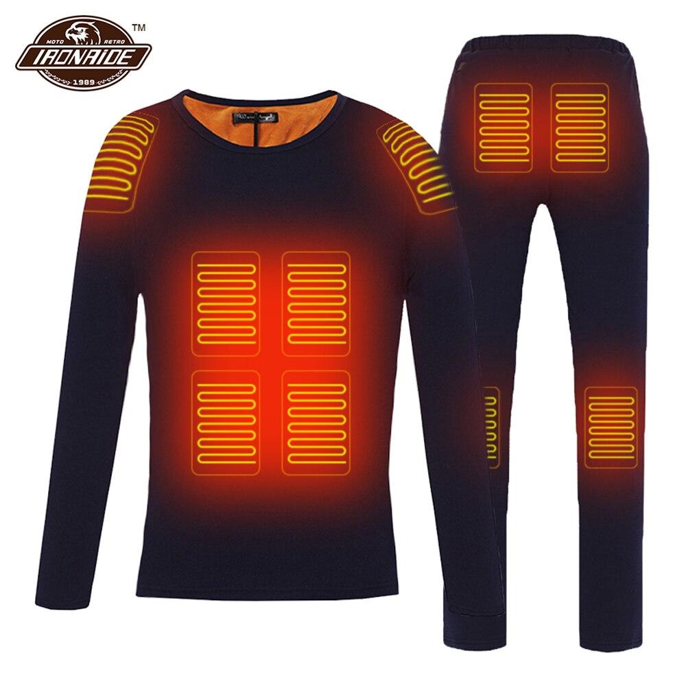 Hiver veste chauffante hommes moto veste chauffante électrique USB chauffage sous-vêtement thermique ensemble petit haut vêtements M-4XL # #