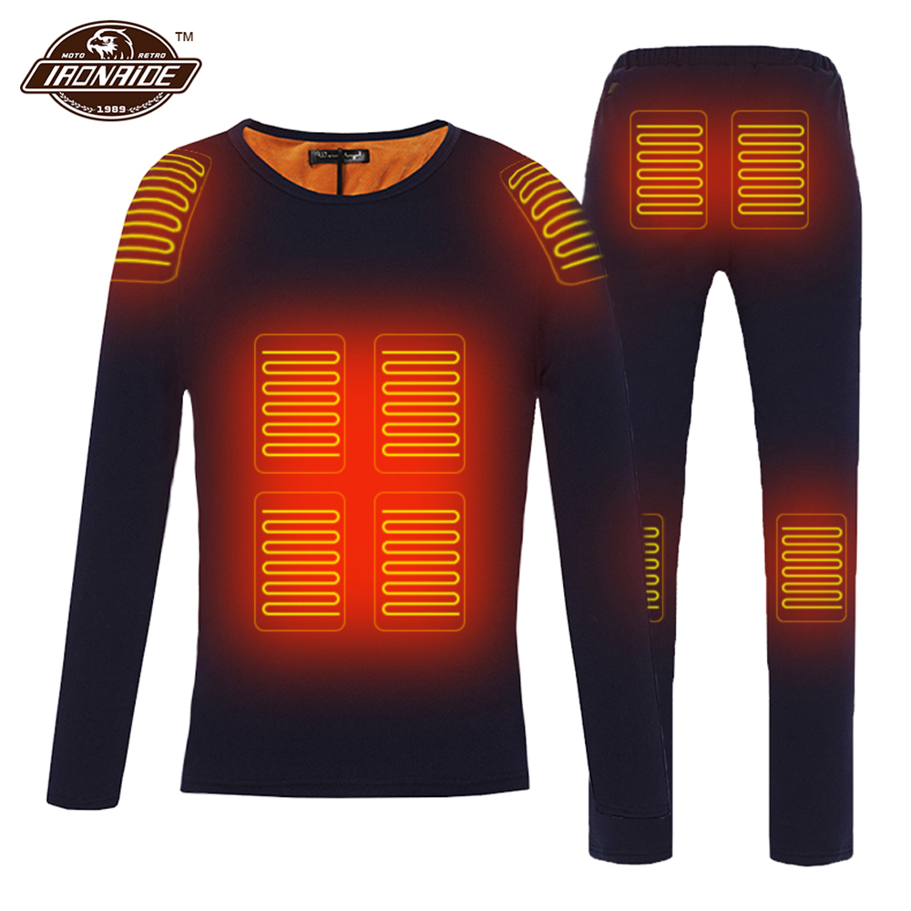 Winter Heated Jacket Men Motorcycle Heating Jacket Electric USB Heating Thermal Underwear Set Shirt Top Clothes M 4XL##