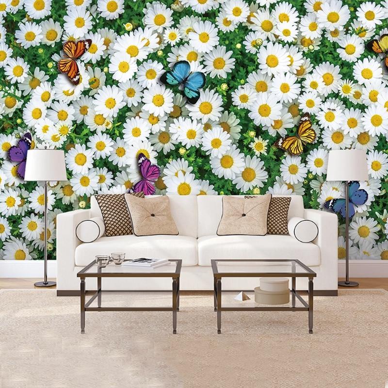 2020 Custom Hand Painted Sunflower Wallpaper Pastoral Flower Mural 3D Embossed Wallpaper For Children Room Bedroom Decoration
