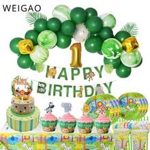 WEIGAO Jungle Birthday Party Disposable Tableware Animal Plates Napkins Safari Baby Shower Decoration Balloon Supplies