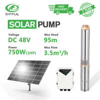 """3"""" DC Deep Well Solar Water Pump 48V 1HP Submersible MPPT Controller Plastic Impeller Bore Hole Irrigation (Head 95m, 3.5T/H)"""