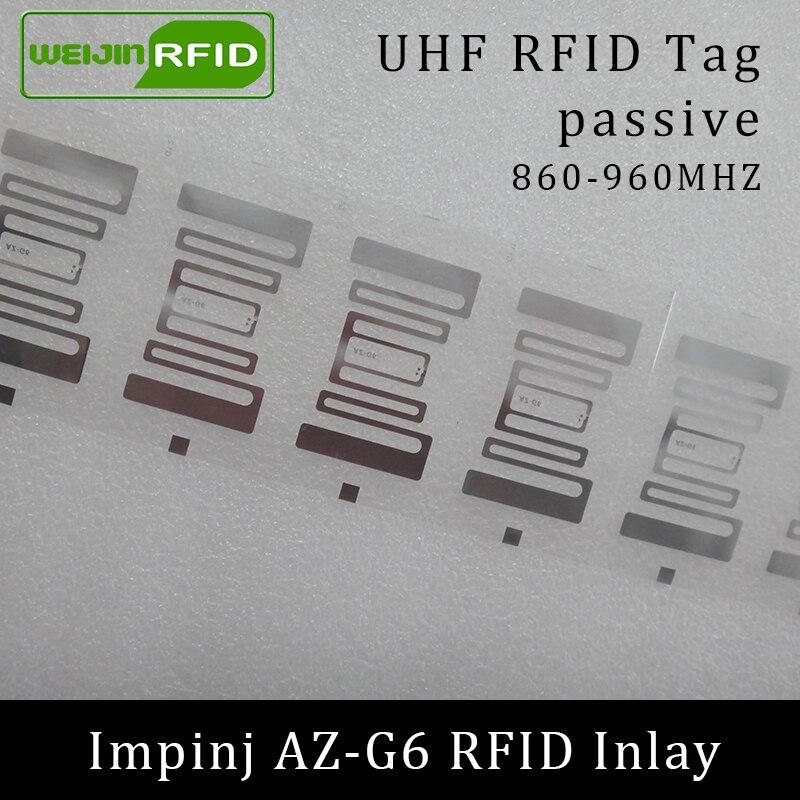 UHF RFID Tag AZ-G6 Inlay Impinj Monza R6 MR6 Chip 860-960MHZ 900 915 868mhz Higgs3 EPCC1G2 6C Smart Card Passive RFID Tags Label