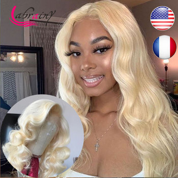 Body Wave HD Transparent 613 Blonde Lace Frontal Wigs 13x6 Pre Plucked Baby Hair Lace Front Human Hair Wigs Bleached Knots image