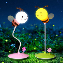 LED cartoon table lamp bee style USB touch dimmable desk reading eye protection book lights child gift