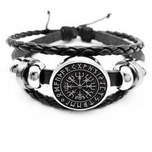 initial / New Hot Sale Vegvisir Viking Compass Snap Button Bracelet Jewelry Glass Cabochon Black