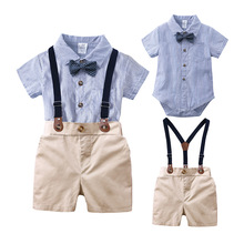 Summer Baby Boys Clothing Sets Gentleman Outfits Toddler Boy Tuxedo Suits Bow Tie Shirts + Suspender Pants
