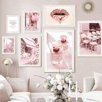 Lippen Heels Blume Parfüm Zitieren Vogue Wand Kunst Leinwand Malerei Poster Und Drucke Wohnzimmer Dekoration Rosa Nordic Stil Decor