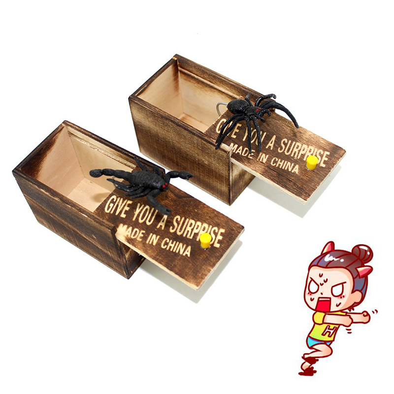NEW Funny Scare Box Wooden Prank Spider Hidden In Case Great Quality Prank-Wooden Scarebox Interesting Play Trick Joke Gift Toys