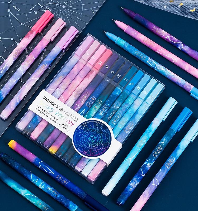 12pcs Box Creative Constellation Series Set Gel Pen Starry Sky Galaxy Style Gel Pen For School Office Supplies Stationery Gifts Gel Pens Aliexpress
