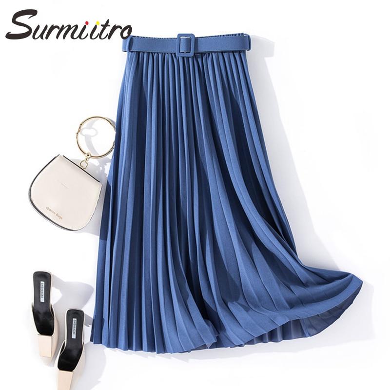 Surmiitro Elegant Long Pleated Skirt Women With Belt Spring Autumn 2020 Korean Ladies Blue Pink Black High Waist Skirt Female