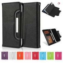IPhone 11 Pro Max kılıf Litchi desen 2 in 1 ayrılabilir Folio manyetik kapatma PU deri cüzdan kılıf iPhone 11 Pro / 11