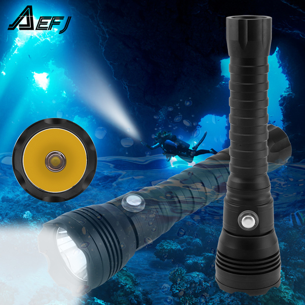 7000Lumen XHP70 2 LED Diving Flashlight Tactical 26650 Torches Yellow White Light Underwater 100M Waterproof XHP70 dive lamp