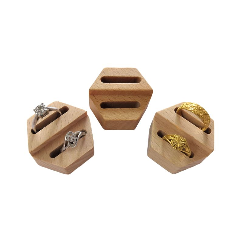 Wooden Hexagon Ring Display Stand Couples Rings Storage Rack Jewelry Holder Tray Organizer Gifts