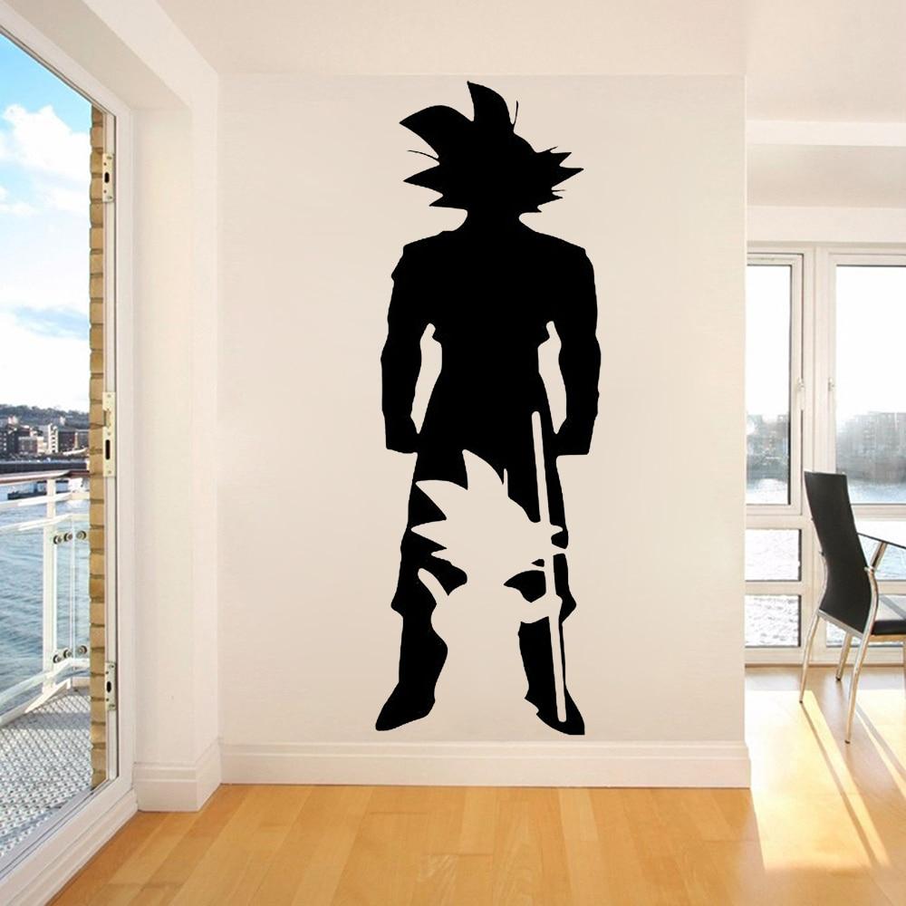 Bola de Dragón DBZ dibujos animados etiqueta de la pared de Goku de Dragon Ball Z silueta Manga vinilo pared calcomanía casa niños dormitorio decoración Mural X905