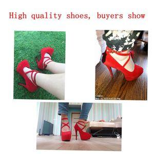 Image 5 - Seksi büyük kadınlar kırmızı kalın alt çapraz kravat 14 cm yüksek topuklu ofis bayan ayakkabıları yumuşak akın gelin tek ayakkabı boyutu 42