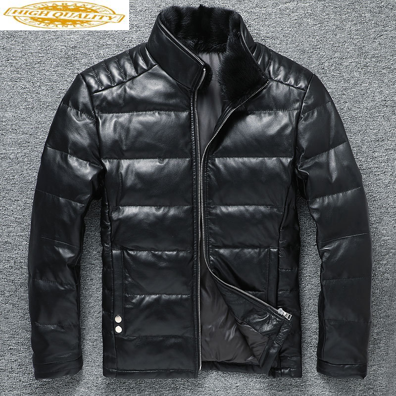 2020 Genuine Leather Jacket Men Sheepskin Coat Short Men's Down Jacket Mink Fur Collar Chaqueta Cuero Hombre KJ3712