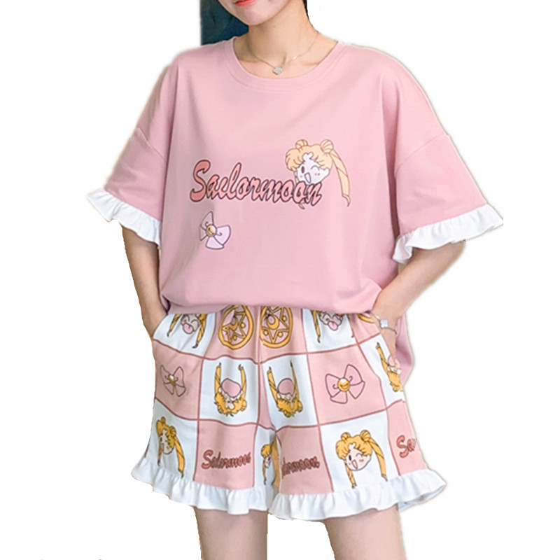Women Cotton Sleepwear Summer Female Pajamas Sets Female Kawaii Sailor Moon Suit Short Sleeve Pyjamas Women Homewear Clothes