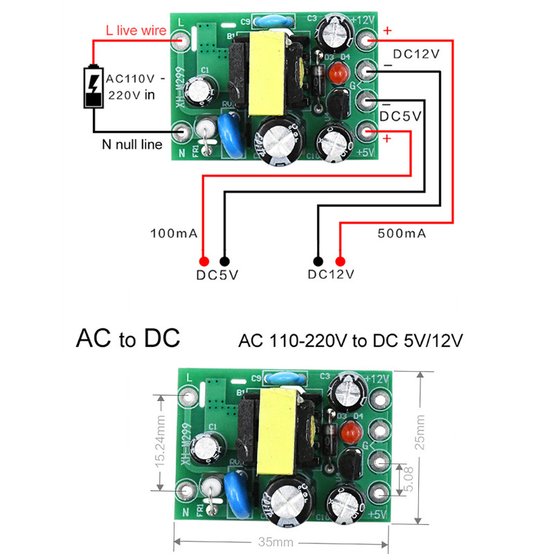 1pc Mini AC-DC Converter AC 110V 220V To DC 12V 0.2A+5V Module Board Wholesale
