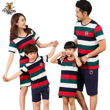 Family Clothing Mother Daughter dresses Father Son Striped T- Shirts and short pants Family Matching Clothes Sets Family Look family matching clothes summer fashion mother daughter dress father son short sleeve cotton tshirt patchwork striped family look