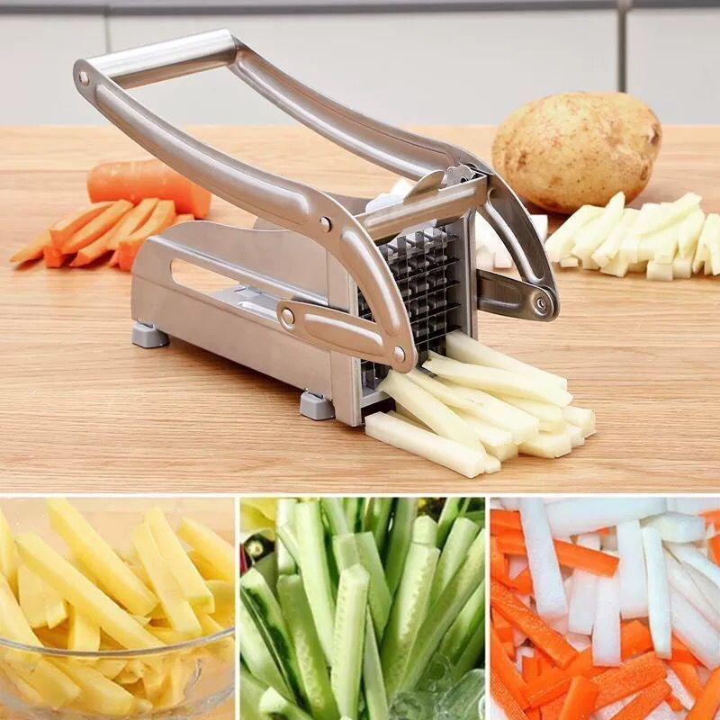 2 Blades Stainless Steel Home French Fries Potato Chips Strip Slicer Cutter Chopper Chips Machine Making Tool Potato Cut Fries 2
