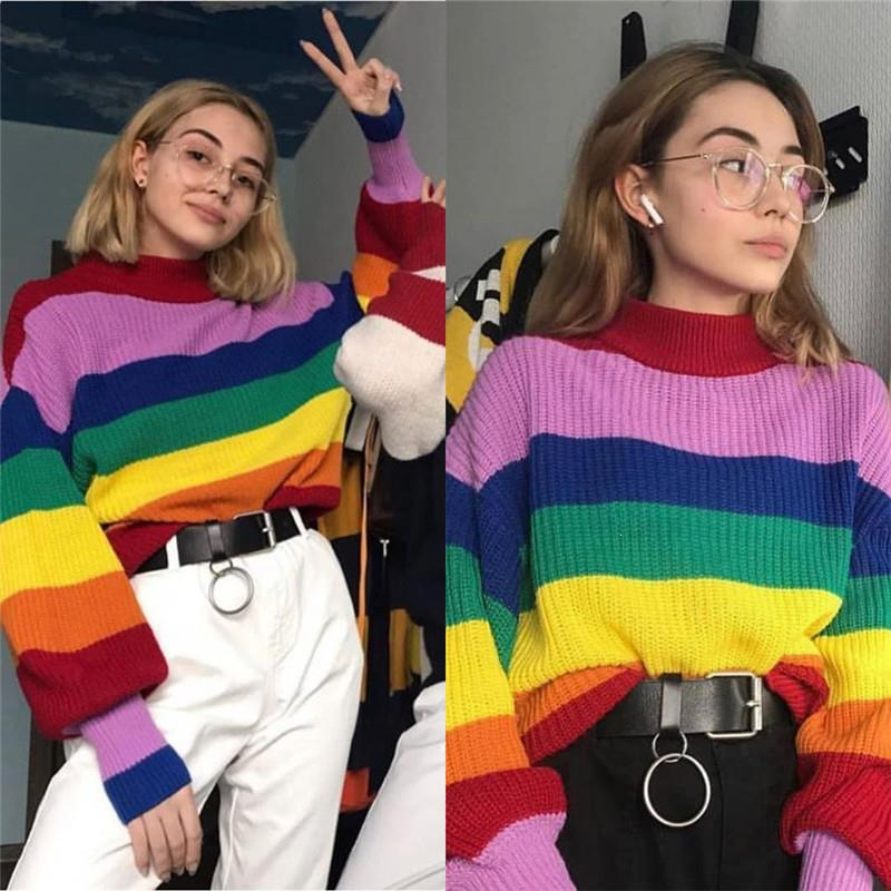 Women Winter Rainbow Striped Turtleneck Sweater Oversized Warm Knitted Tops Casual Puff Sleeve Loose Pullover