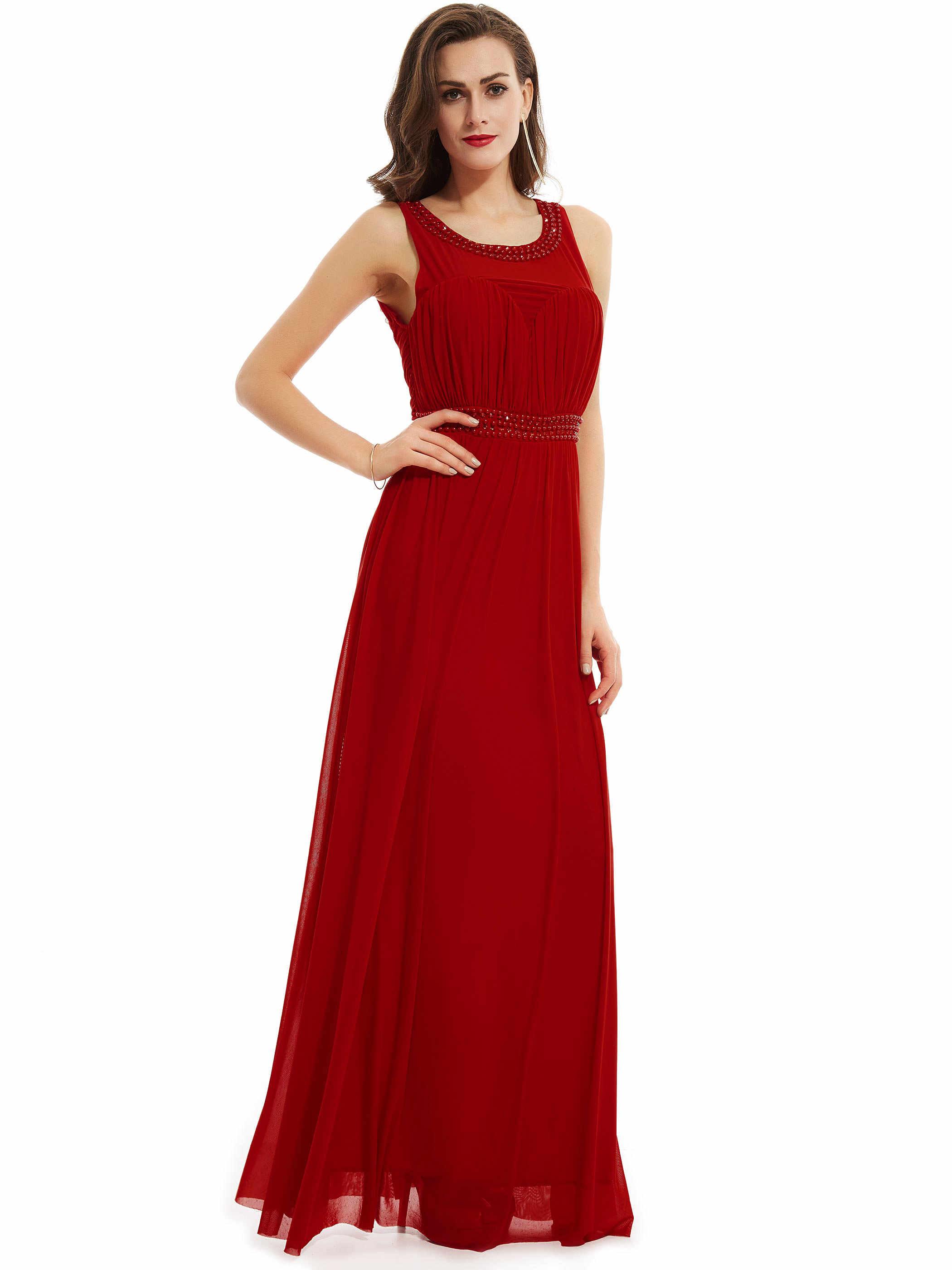 DressV Sendok Panjang Gaun Malam Merah Tanpa Lengan Garis Lantai Panjang Gaun Hitam Manik-manik Kristal Ruched Formal Prom Gaun Malam