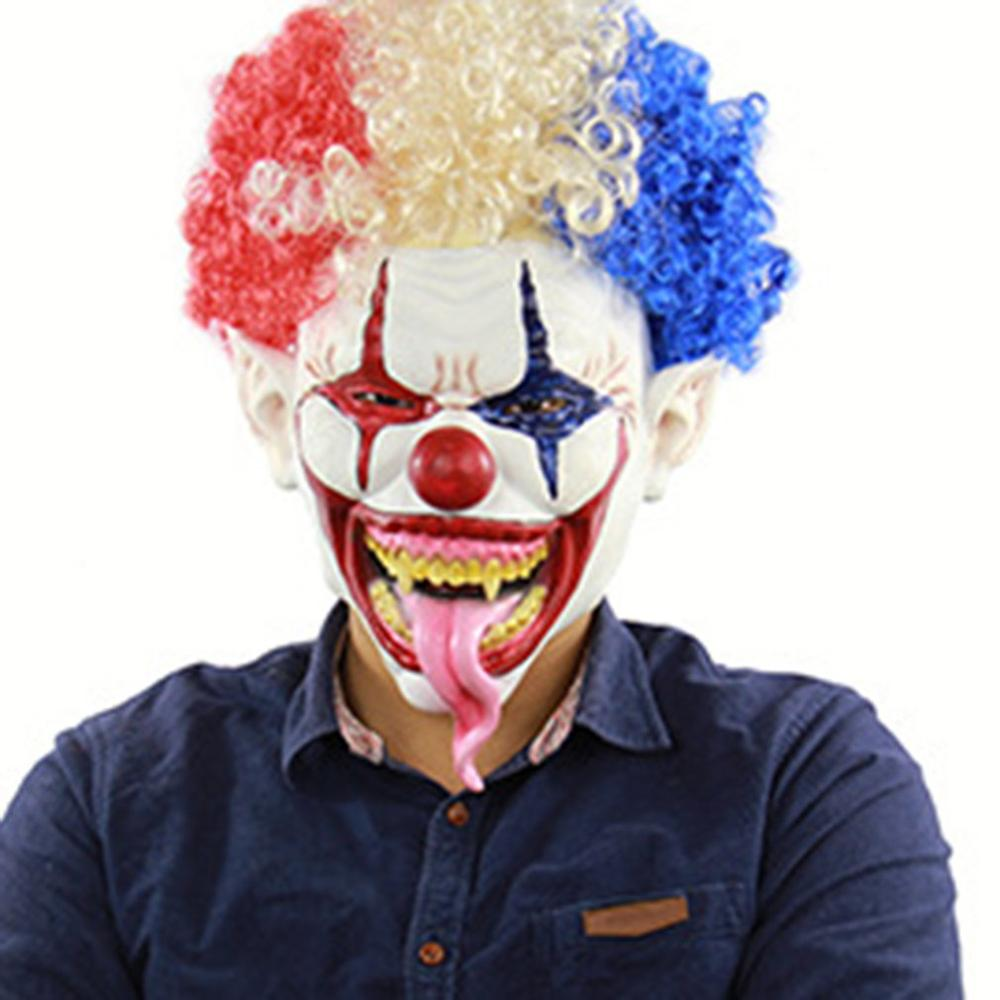 Explosion Head Big Mouth Long Tongue Clown Mask Halloween Latex Terrorist Head Cover Bar Dance Props Latex Scary Mask