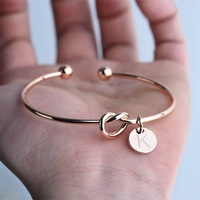 Fashion Charming Letter Bracelets for Women Rose Gold Silver Color Bow knot Charm Bracelet 2020 New Female Jewelry