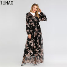 TUHAO Fall Muslim Luxury Robe High End Lace Fashion Floral Long Sleeve Dresses Woman Elegant Party Maxi Long Dress T6184(China)