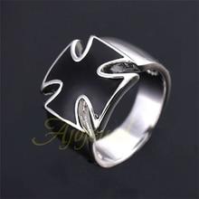 Ajojewel Размеры 5.5-12 простой Эмаль Классический черный крест кольцо для Для мужчин модный бренд Винтаж Для мужчин Jewelry высокое качество
