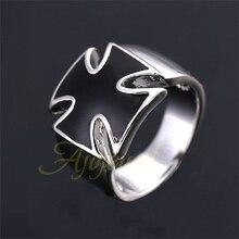 Free Shipping Enamel Black Cross Ring 18K White Gold Plated Beautiful Shinning Gift For Women/Men