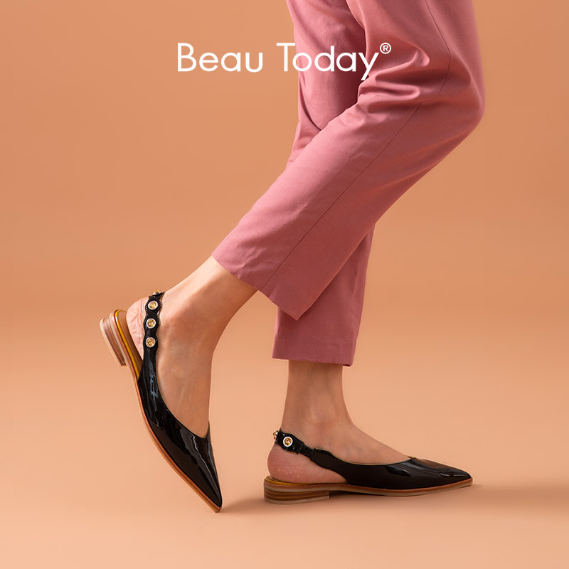 BeauToday Sandals Women Patent Leather Rivet Decoration Elastic Band Pointed Toe Low Heel Ladies Summer Shoes Handmade 32191