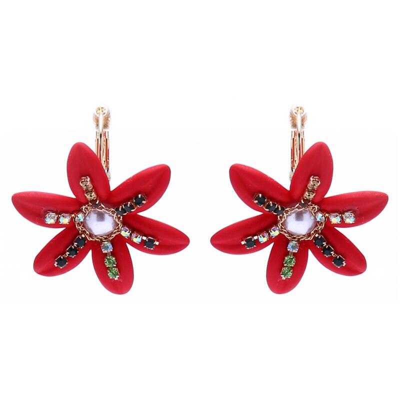 ELEGANCE11 2020 Western Earings Red Flower Acrylic Earrings Simple Womens Earings Rhinestone Jewelry Christmas Gift