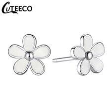 Cuteeco Hot Sale Pan Earrings Silver Darling Daisy Stud White Enamel With Clear CZ Zircon For Women Wedding Jewelry