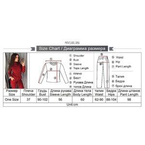 Image 5 - MVGIRLRU נשים של סריגת תלבושות נשים שתי חתיכה סטי גבוהה צוואר אמצע קו סוודר + מכנסיים אימונית נשי תלבושות