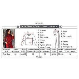 Image 5 - Mvgirru Costume en tricot pour femme, ensemble deux pièces pour femme, col montant, pull over + pantalon, tenue féminine