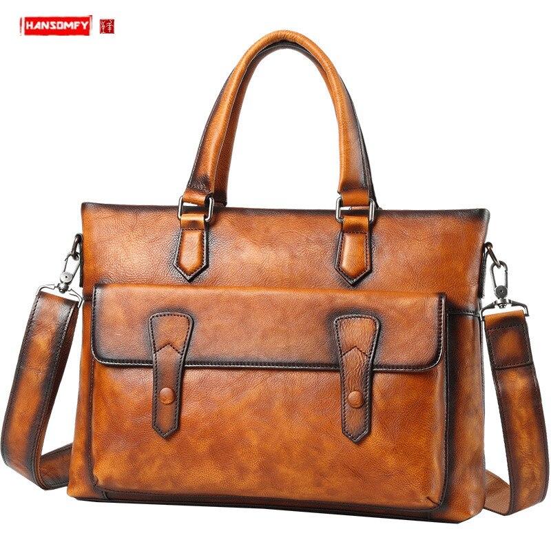Leather Handbag Men's Bag Casual Shoulder Messenger Bag Men Briefcase Business Document Laptop Bag Korean Fashion Leather Bags