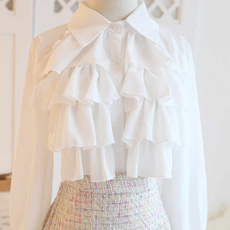 סתיו החורף מתוק טוויד 3 חתיכה להגדיר נשים פנינים ואגלי קצר מעיל מעיל + ראפלס לבן שיפון חולצות + מיני קפלים חצאית סט