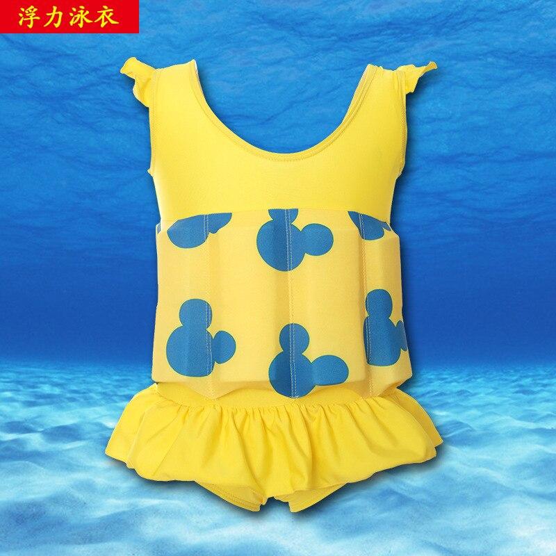 CHILDREN'S Buoyancy Swimsuit Children Swimsuit Fabric Meng Po Swimwear 6615 Yellow Mickey KID'S Swimwear Hot Springs Bathing Sui