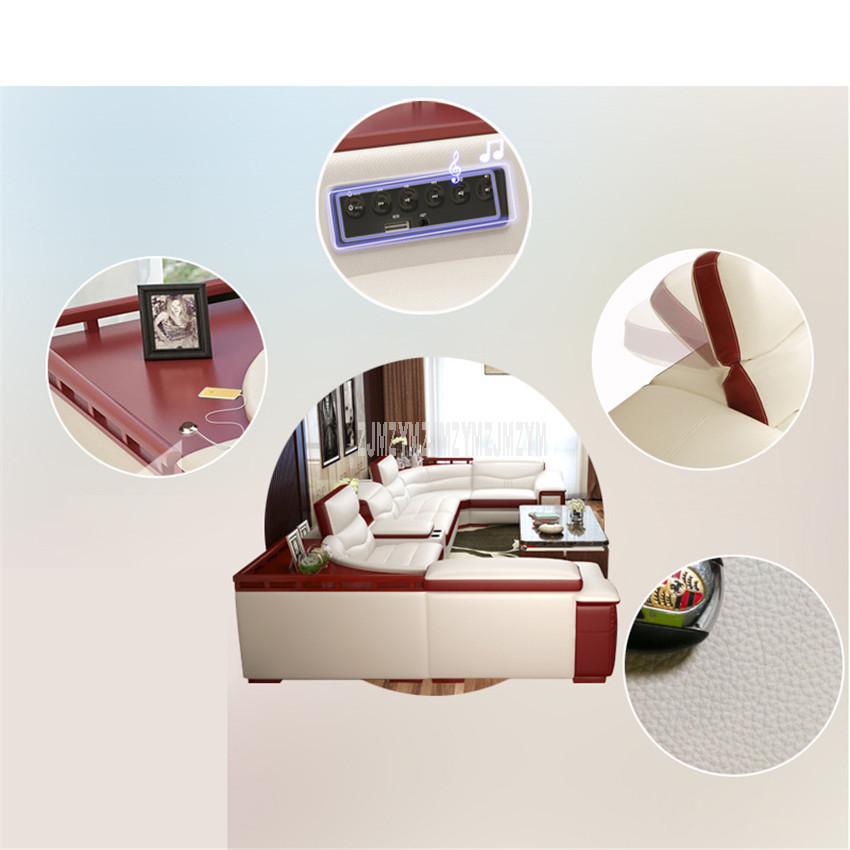 3 Seat Living Room Sofa Furniture Modern Fashion High Quality Leather Solid Wood Frame Sponge Filler Sofa L Shape Home Furniture
