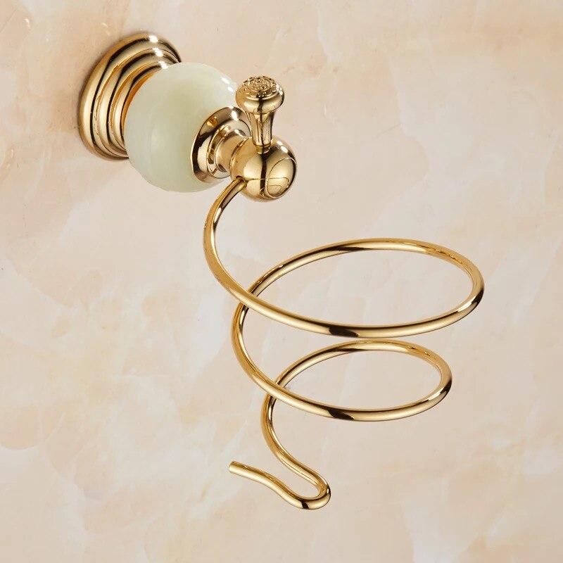 Европейский стиль золотистый нефрит фен фен держатель без штамповка настенный навесной ванная полки люкс ванная аксессуары