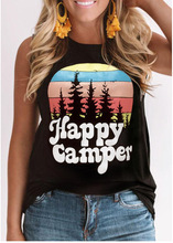 happy camper tank tops woman clothes pink sexy top harajuku festival 2019 womens clothing plus size gothic print casual